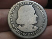 1892 SILVER COLUMBIAN EXPO COMMEMORATIVE HALF DOLLAR- LOWBALL, HEAVILY WORN