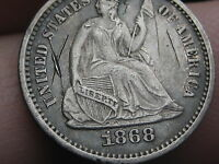 1868 SEATED LIBERTY HALF DIME, AU DETAILS