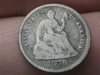 1868 P SEATED LIBERTY HALF DIME- LOW MINTAGE DATE