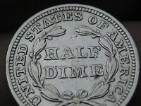 1853 SEATED LIBERTY HALF DIME- NO ARROWS- EXTRA FINE /AU DETAILS-