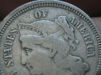 1865 THREE 3 CENT NICKEL- VG/FINE DETAILS, FULL RIMS