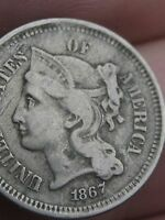 1867 THREE 3 CENT NICKEL- FINE/VF DETAILS