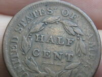 1809 CAPPED BUST HALF CENT-  TYPE COIN- VG/FINE REVERSE DETAILS