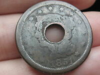 1851 BRAIDED HAIR LARGE CENT PENNY- HOLED THROUGH CENTER