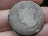 1843 BRAIDED HAIR LARGE CENT PENNY, PETITE SMALL LETTERS, LOWBALL