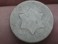 1852 THREE 3 CENT SILVER PIECE- LOWBALL, HEAVILY WORN