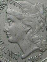 1867 THREE 3 CENT NICKEL- EXTRA FINE  DETAILS