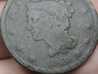 1840 BRAIDED HAIR LARGE CENT PENNY, SMALL DATE