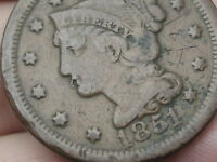 1851 BRAIDED HAIR LARGE CENT PENNY- FINE/VF DETAILS