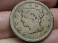 1852 BRAIDED HAIR LARGE CENT PENNY- VG DETAILS