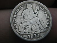1870 SEATED LIBERTY DIME-  KEY DATE-  GOOD/VG DETAILS