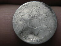 1857 THREE 3 CENT SILVER TRIME- VG DETAILS