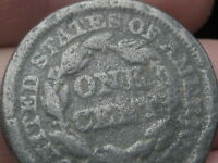 1853 BRAIDED HAIR LARGE CENT PENNY- SILVER/ZINC PLATED?