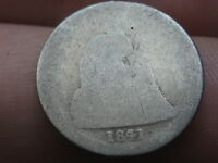 1841 P SEATED LIBERTY SILVER DIME- HEAVILY WORN, LOWBALL, PO1 CANDIDATE?