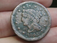 1843 BRAIDED HAIR LARGE CENT PENNY- MATURE, LARGE LETTERS, VG/FINE DETAILS
