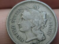1867 THREE 3 CENT NICKEL- VF DETAILS