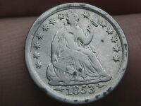 1853 P SEATED LIBERTY HALF DIME- WITH ARROWS- VF DETAILS