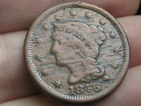 1846 BRAIDED HAIR LARGE CENT PENNY, SMALL DATE, FINE/VF DETAILS