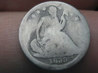 1839 P SEATED LIBERTY HALF DIME- ROTATED REVERSE MINT ERROR