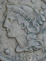 1856 BRAIDED HAIR LARGE CENT PENNY, UPRIGHT 5, FINE/VF DETAILS