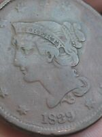 1839 BRAIDED HAIR LARGE CENT PENNY- VF DETAILS-