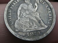 1873 SEATED LIBERTY SILVER DIME- NO ARROWS, CLOSED 3, FINE OBVERSE DETAILS