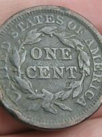 1846 BRAIDED HAIR LARGE CENT PENNY- TALL DATE, FINE DETAILS