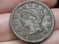 1851 BRAIDED HAIR LARGE CENT PENNY- VF/EXTRA FINE  DETAILS