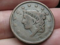 1837 MATRON HEAD MODIFIED LARGE CENT PENNY- NEWCOMB 2, N-2,  DIE CUD