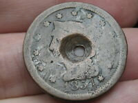 1854 BRAIDED HAIR LARGE CENT PENNY- HOLED THROUGH CENTER, OLD WASHER?