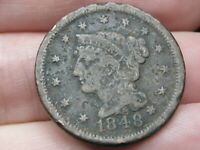 1848 BRAIDED HAIR LARGE CENT PENNY- FINE DETAILS