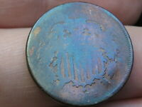 1864 TWO 2 CENT PIECE- LARGE MOTTO, TONED