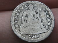1840 SEATED LIBERTY SILVER DIME- WITH DRAPERY, GOOD/VG DETAILS