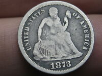 1873 SEATED LIBERTY SILVER DIME- NO ARROWS- CLOSED 3, VG DETAILS