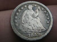 1853 SEATED LIBERTY HALF DIME- NO ARROWS, FINE DETAILS