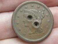 1856 BRAIDED HAIR LARGE CENT, SLANTED 5, POSSIBLE CIVIL WAR BUTTON?