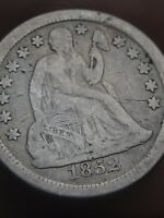 1852 O SEATED LIBERTY SILVER DIME- VG/FINE DETAILS