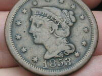 1853 BRAIDED HAIR LARGE CENT PENNY- FINE/VF DETAILS