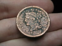1849 BRAIDED HAIR LARGE CENT PENNY- FINE/VF DETAILS