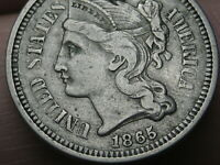 1865 THREE 3 CENT NICKEL- VF/EXTRA FINE  DETAILS