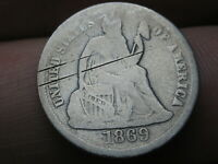 1869 S SEATED LIBERTY SILVER DIME- GOOD DETAILS