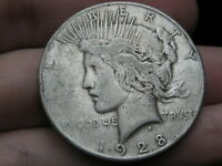 1928 S SILVER PEACE DOLLAR- FINE DETAILS