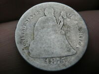 1875 S SEATED LIBERTY SILVER DIME- MINTMARK BELOW BOW/ WREATH