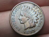 1887 INDIAN HEAD CENT PENNY- VF/EXTRA FINE  DETAILS, TONED