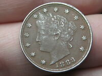 1883 LIBERTY HEAD V NICKEL- VF/EXTRA FINE  DETAILS- WITH CENTS