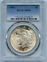 1925 PCGS MINT STATE 64 PEACE SILVER $1