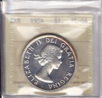 1954 ICCS PL66 $1 CAMEO CANADA ONE DOLLAR SILVER MINTAGE JUST 3 000
