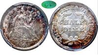 1845 SEATED LIBERTY HALF DIME MINT STATE 63 NGC WITH CAC. MONSTER RAINBOW TONED LUSTER