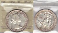 1958 ICCS MS65 $1 CANADA SILVER DOLLAR ONE BC CENTENARY TOTEM POLE