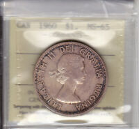 1960 ICCS MS65 $1 CANADA ONE DOLLAR SILVER HALF PRICE